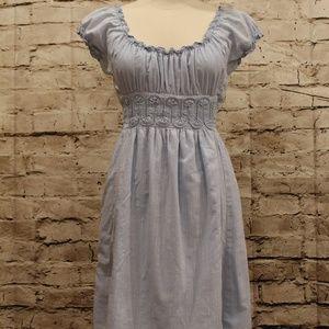 Studio M Chambray Blue Peasant Dress EUC